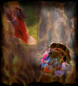 demonic turkeys with overlaid flames