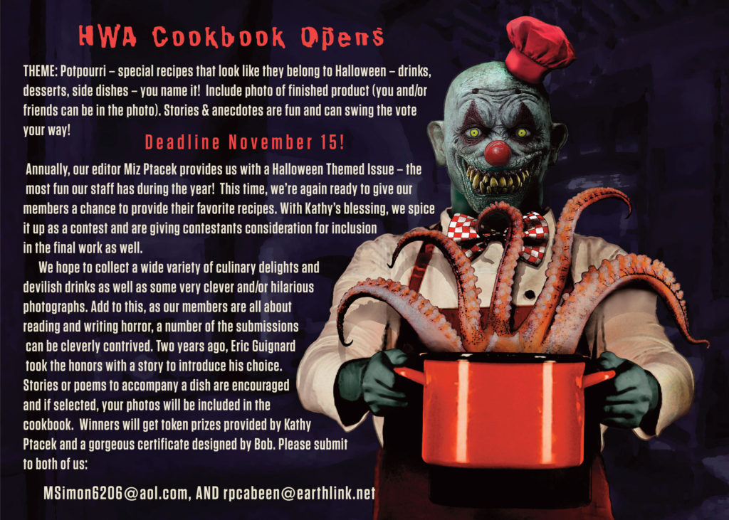 HWA Cookbook Submission Call - Horror Writers Association